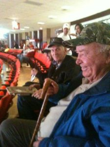 Dad and Uncle Don McGaha at an OU Basketball game.